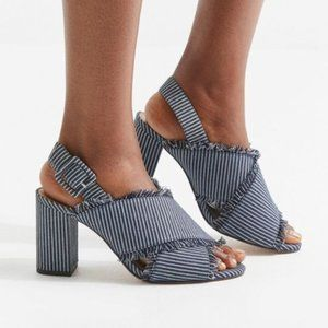 Urban Outfitters Denim Striped Fringe Block Heels